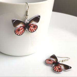 NEW Acrylic Red Butterfly Earrings